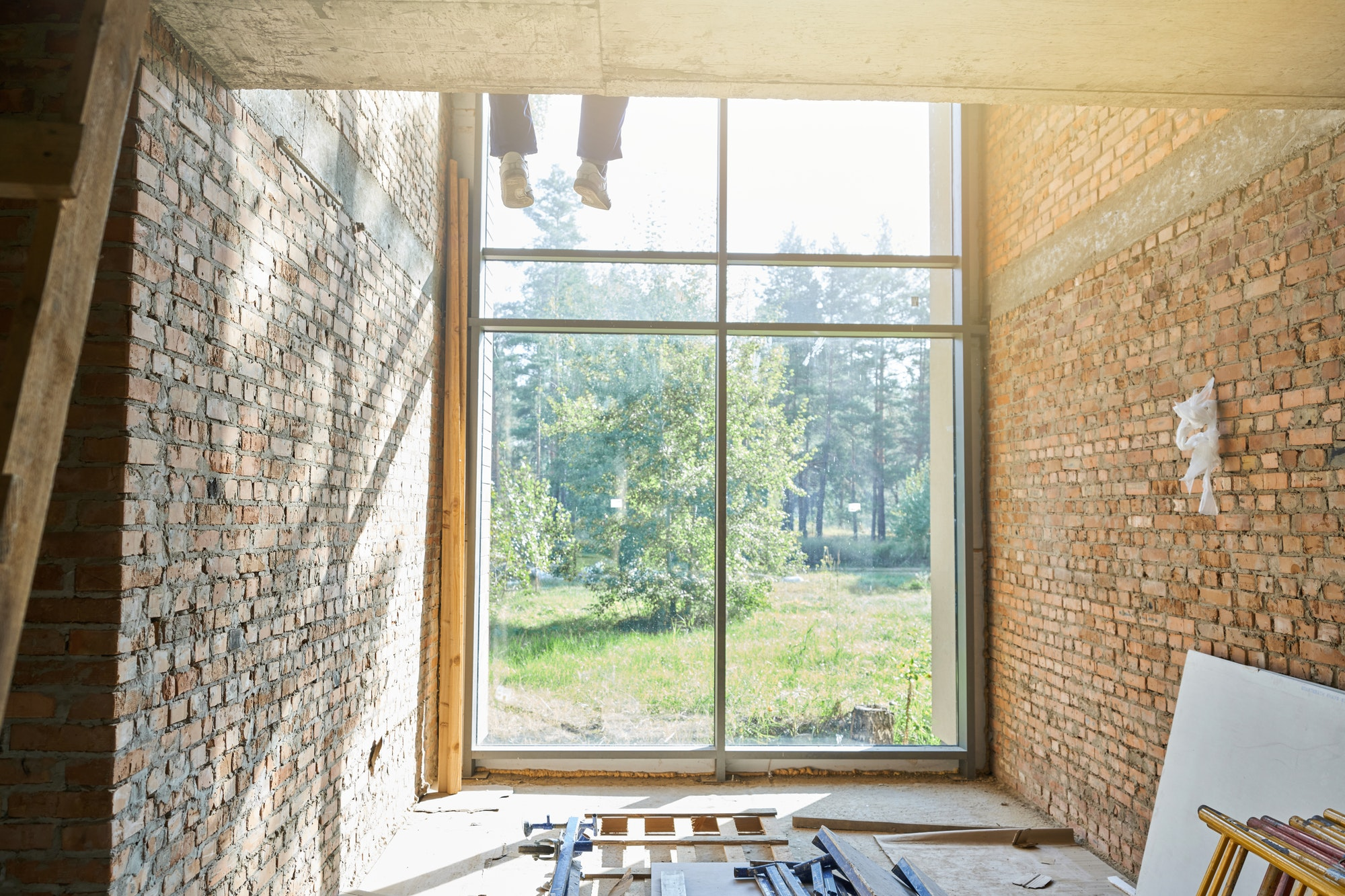 Building solutions. Interior view of a new house under construction on a sunny day